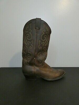 $38 • Buy Justin Mens Brown Leather Round Toe Western Cowboy Ride Boots Size 9