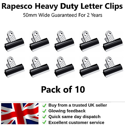 £7.95 • Buy Bulldog Clips Metal 50mm Ideal Grip For Paper Letters Stationery Filing Pack 10