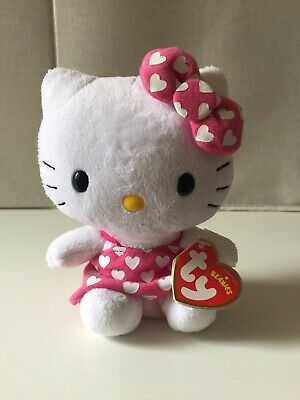 £8.95 • Buy Ty HELLO KITTY Plush Pink Dress With White Hearts Teddy Soft Toy
