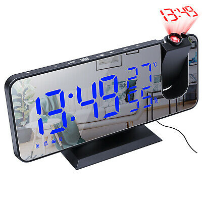 AU36.99 • Buy LED Digital Smart Alarm Clock Projection Temperature Time Projector LCD Display