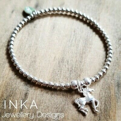 £20 • Buy Inka 925 Sterling Silver Stretch Beaded Stacking Bracelet With 3D Horse Charm
