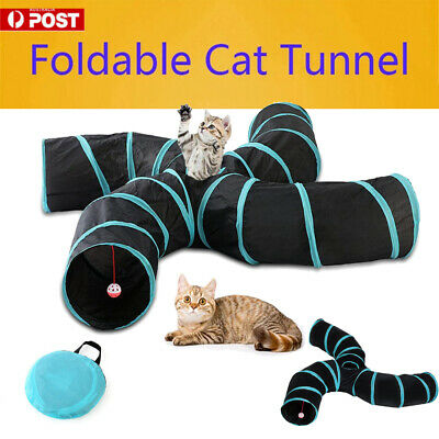 AU24.89 • Buy S Shape Pet Cat Tunnel Kitty Play Toy Tube Crinkle With Ball Durable Collapsible