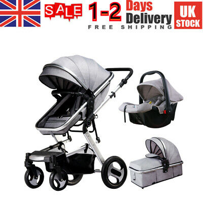 View Details UK New 3 IN 1 Baby Stroller Pram Car Seat Pushchair Carry Cot Travel System • 188.90£