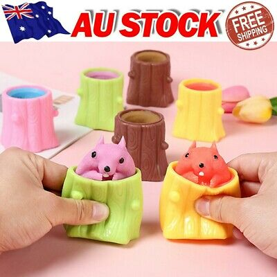 AU8.99 • Buy Fun Squeeze Squirrel Cup Tree Stump Oak Stress Relief Sensory Toy Adults Kids