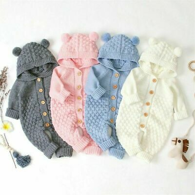 £12.99 • Buy Newborn Baby Boy Girl Romper Jumpsuit Outfit Knitted Hooded Sweater Cute Clothes