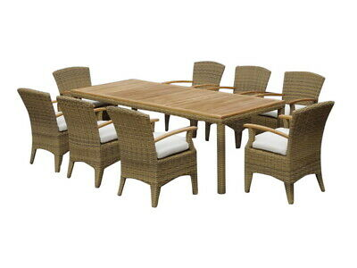 AU2990 • Buy NEW Kai 8 Rectangle Dining Table Setting In Half Round Wicker Outdoor Dining Set