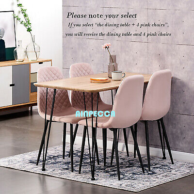 AU240 • Buy OAK Dining Table Or 4 Velvet Chairs Set With Metal Legs Lounge Kitchen Office