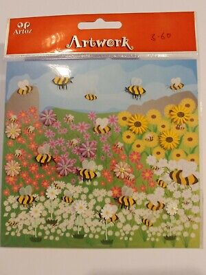 £3.60 • Buy Artoz Artwork Bees And Flowers Stickers Card Toppers & Craft Projects