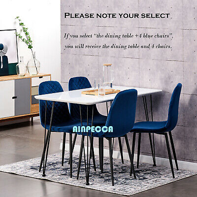 AU240 • Buy White Dining Table Or 4 Velvet Chairs Set With Metal Legs Kitchen Office Lounge