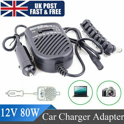 £9.49 • Buy For DELL HP TOSHIBA SONY 80W Universal Laptop Auto Car Charger Adapter 12V Fit