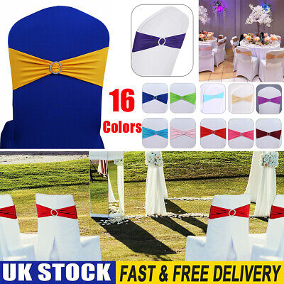 £9.89 • Buy 10/50/100 Elasticity Stretch Chair Cover Band W/Buckle Slider Sashes Bow Decor