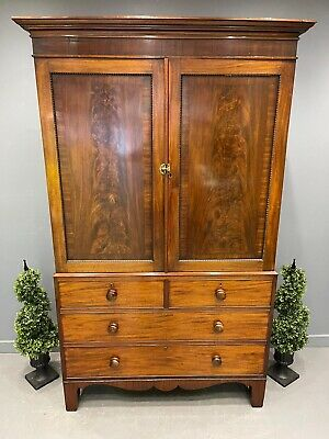 £925 • Buy Georgian Mahogany House Keepers Cabinet Linen Press Compactum Superb Fitted