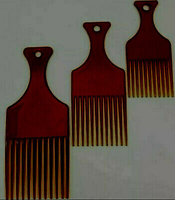 £2.75 • Buy Pack Of 3 Brown Afro Combs / Hair Lift Pick Styling Detangle Plastic Comb Set