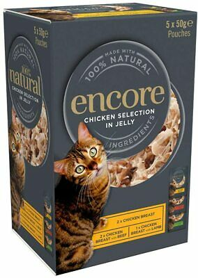 £5.09 • Buy Encore 100% Natural Wet Cat Food, Multipack Chicken In Jelly, 5 X 50 G Pouches