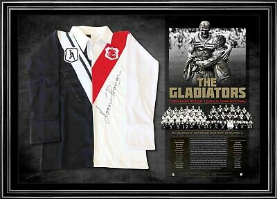 AU895 • Buy 1963 Rugby League Gladiators Norm Provan Summons Signed St George Jersey COA