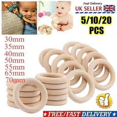 £5.24 • Buy 20PCS Natural Wooden Baby Teething Rings Teethers For Necklace Bracelets Crafts