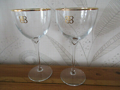 £6.99 • Buy 2 Baileys Tall Stem Balloon Delux Glasses With Gold Edging And Logo