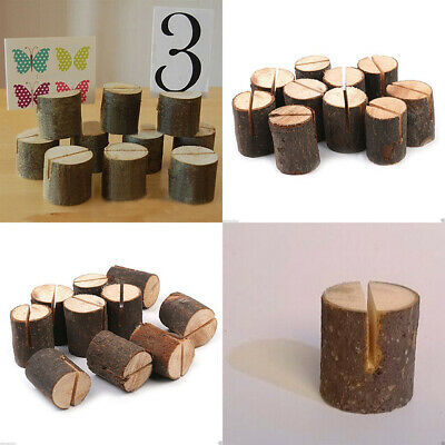 £6.99 • Buy 10 X Wooden Table Card Holder Stand Number Place Name Menu Wedding Party Decor