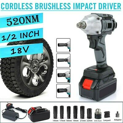 £52.59 • Buy 1/2  Cordless Brushless Impact Wrench Driver Ratchet Rattle Nut Gun With Battery