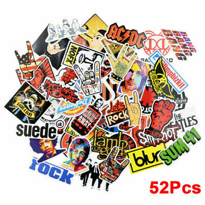 £3.39 • Buy 52 Rock Stickers Metal Punk Bands Guitar Amp Music Decals Stickerbomb Decor