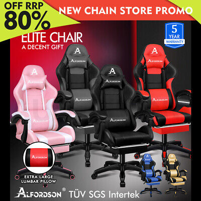 AU169.85 • Buy ALFORDSON Gaming Office Chair Extra Large Pillow Racing Footrest Seat PU Leather