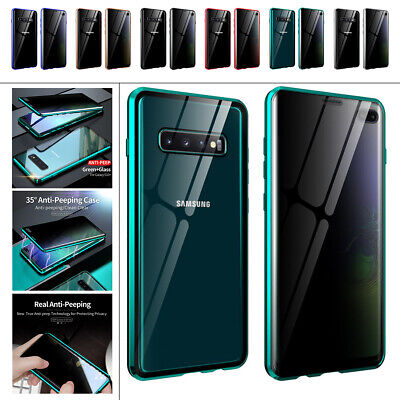 AU15.46 • Buy For Samsung Galaxy S20 S10 S9 S8 Note 20 10 9 Magnetic Glass Anti Spy 360 Case