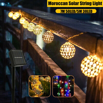 £7.99 • Buy Solar Powered String Lights LED Moroccan Bulb Garden Outdoor Fairy Hanging Lamp