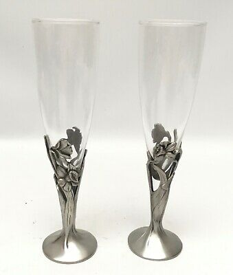 """£43.65 • Buy Seagull Pewter Canada Etain 1988 DAFFODIL Toasting Champagne Flutes 8 1/2"""""""