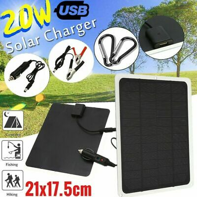 £13.99 • Buy 12V/20W Outdoor Battery Charger Portable Solar Panel Trickle Car Boat Supply UK