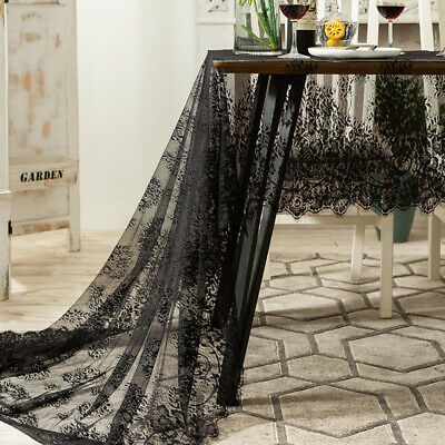 £8.19 • Buy Black Lace Tablecloth Table Runner Coffee Table Cover Wedding Party Home Decor