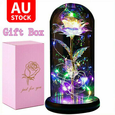 AU24.95 • Buy LED Galaxy Rose In Glass Beauty And The Beast Light Dome Valentine's Gifts AU