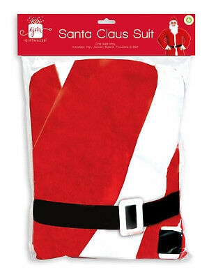 £7.13 • Buy Father Christmas Santa Claus Suit Costume Fancy Dress Outfit Adult Onesize