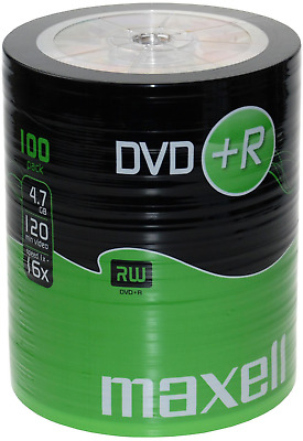 £19.69 • Buy 100 Maxell DVD+R RECORDABLE 16x Speed Blank Discs 4.7GB - 100 Pack DVD Plus R