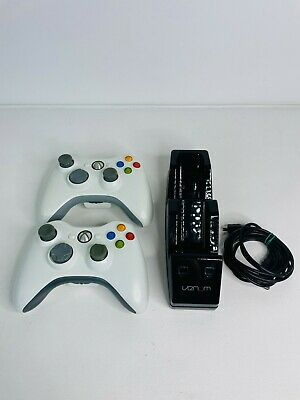 £29.95 • Buy 2 X Two Official Xbox 360 Controllers + Venom Twin Docking Station