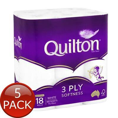 AU72.85 • Buy 5 X QUILTON TISSUE ROLL 3PLY CLASSIC WHITE 18 PACK TOILET PAPER SOFT BATHROOM