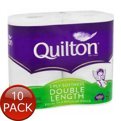 AU70.20 • Buy 10 X QUILTON TISSUE ROLL WHITE 3PLY DOUBLE LENGTH 4 PACK TOILET PAPER BATHROOM