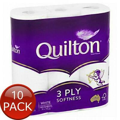 AU82.30 • Buy 10 X QUILTON TISSUE ROLL WHITE 3PLY 9 PACK NAPPIES TOILET PAPER TOWELS BATHROOM