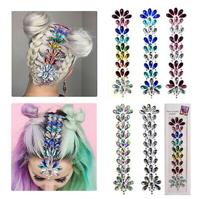 £5.39 • Buy 3D Crystal Forehead Headpiece Hair Glitter Face Body Gems Jewels Shiny Sticke ZS