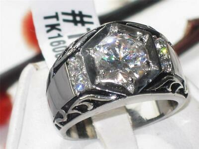 £16.99 • Buy Mens Silver Ring Signet Pinky Solitaire Simulated Diamonds Steel