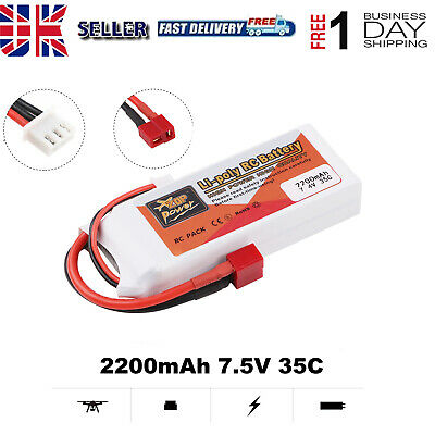 £15.99 • Buy 2200mAh 7.4V 35C 2S LiPo Battery T Plug Deans Connector For RC Car Airplane NEW