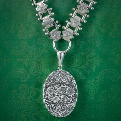 £675 • Buy Antique Victorian Silver Floral Locket And Collar Necklace Dated 1884