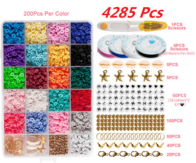 £14.99 • Buy 4285Pcs Flat Polymer Clay Beads Spacer For DIY Bracelets Jewelry Making Finding