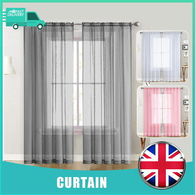 £5.99 • Buy Single High Quality Voile Curtain Panels Slot Top Solid Sheer Window Curtain