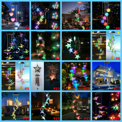 £7.19 • Buy 17 Variety Solar Powered LED Color Wind Chime Light Outdoor Garden Tree Decor