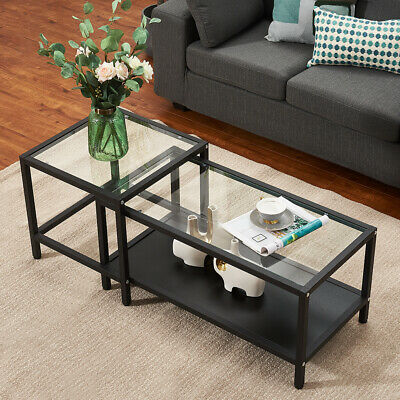 £69.99 • Buy Nest Of Tables Set Of 2 Coffee Table Modern Stacking Metal Frame Clear Glass Top