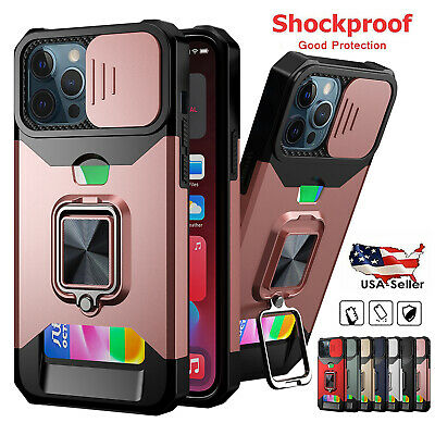 AU13.49 • Buy Shockproof Ring Case For IPhone 12 11 Pro Max XS XR SE Card Holder Camera Cover