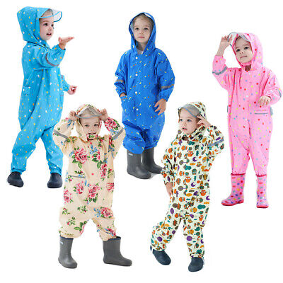£18.88 • Buy Kids Puddle Paddle Rain Suit Boys Girls All In One Overalls Waterproof Splash