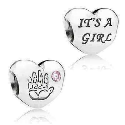 £13.99 • Buy New Genuine Pandora Silver Its A Girl Heart & Hand Pink Crystal Charm 791280pcz