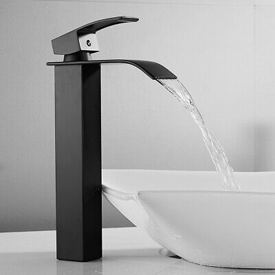 £35.99 • Buy Tall Waterfall Bathroom Basin Mixer Tap Counter Top Chrome Small Square Faucets