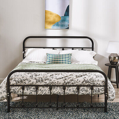 £96.99 • Buy Black White Metal Bed Frame Hospital Victorian Style Single Double King Size UK